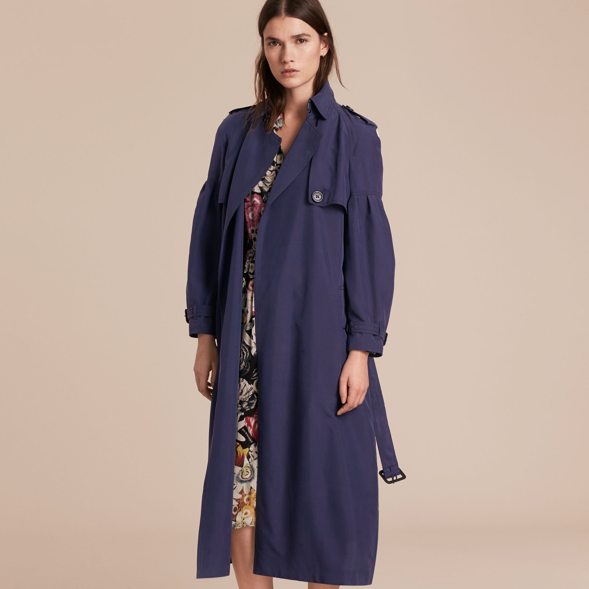 Oversize Silk Trench Coat with Puff Sleeves in Navy - gallery image 7