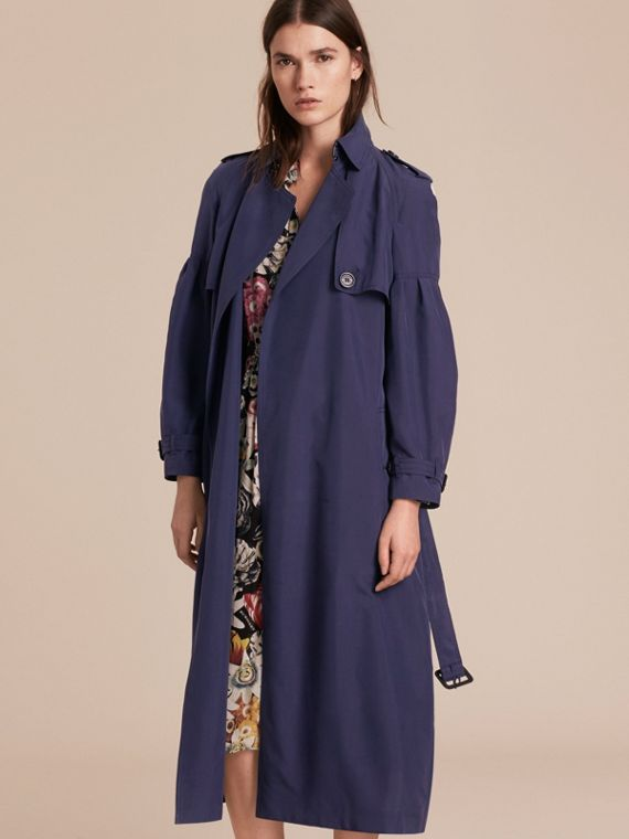 Oversize Silk Trench Coat with Puff Sleeves Navy