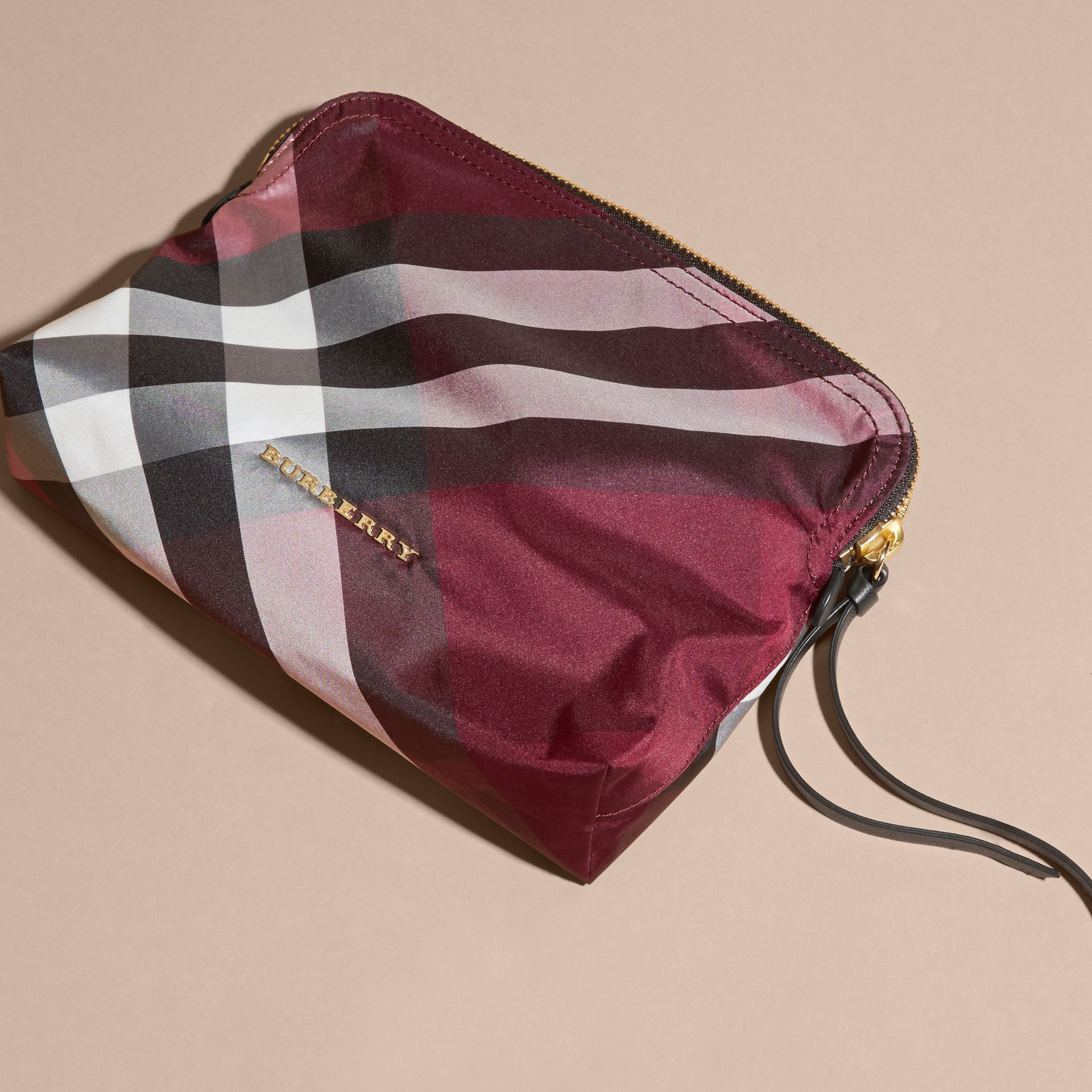 Large Zip-top Check Pouch in Plum - Women | Burberry Australia - gallery image 3