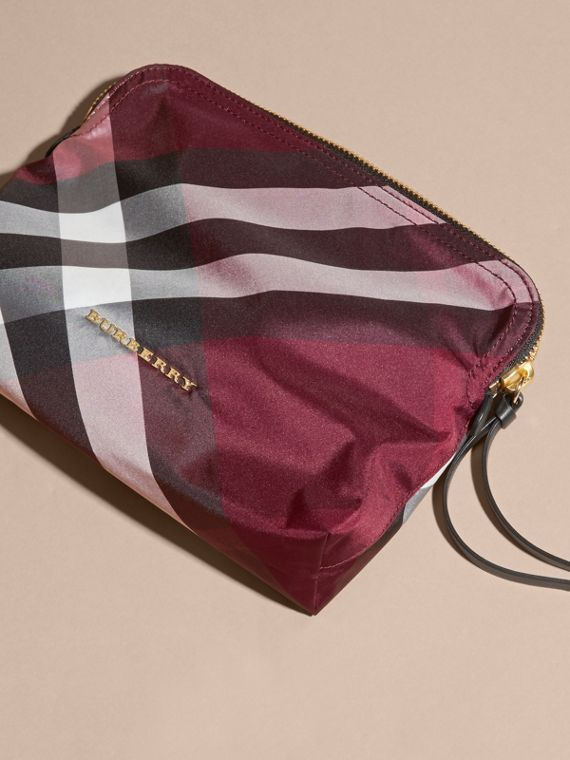 Large Zip-top Check Pouch in Plum - Women | Burberry Australia - cell image 2
