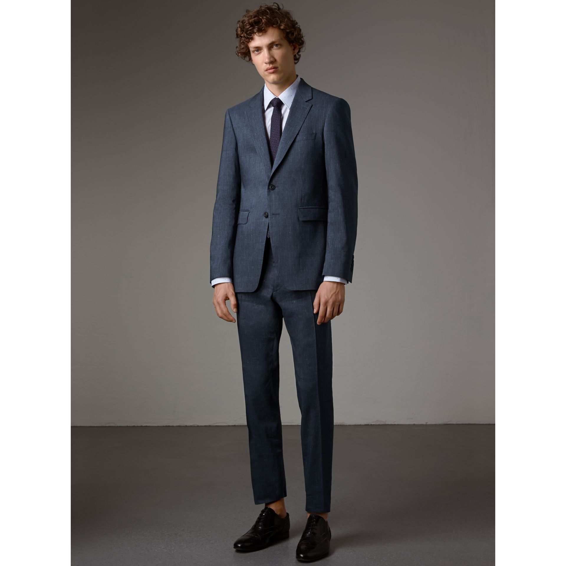 Modern Fit Travel Tailoring Linen Wool Suit in Slate Blue - Men | Burberry - gallery image 1