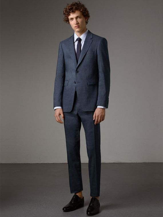 Modern Fit Travel Tailoring Linen Wool Suit - Men | Burberry