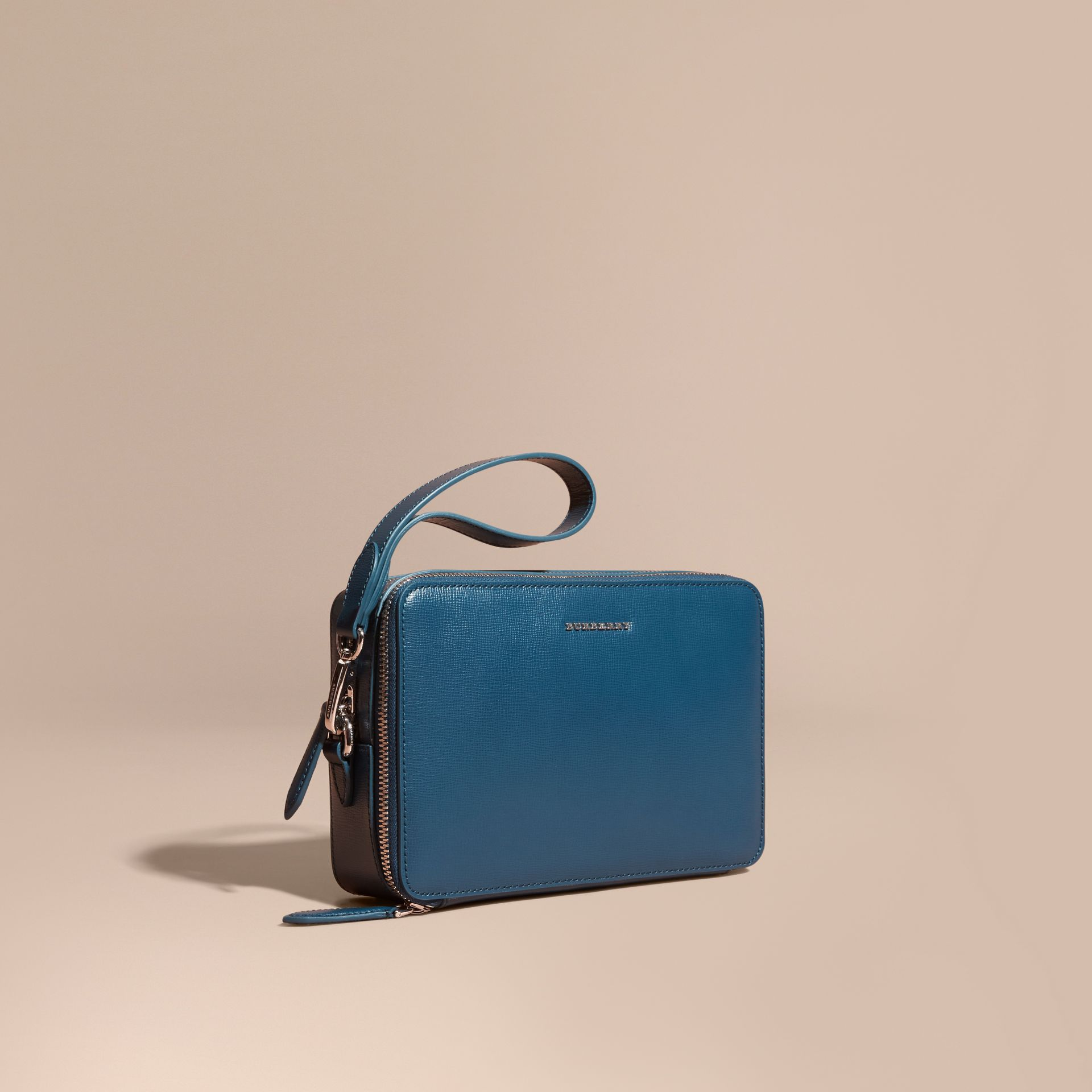 London Leather Pouch Mineral Blue - gallery image 1