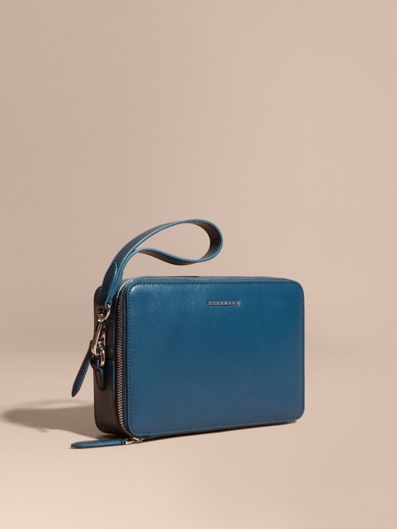 Pochette in pelle London (Blu Minerale)