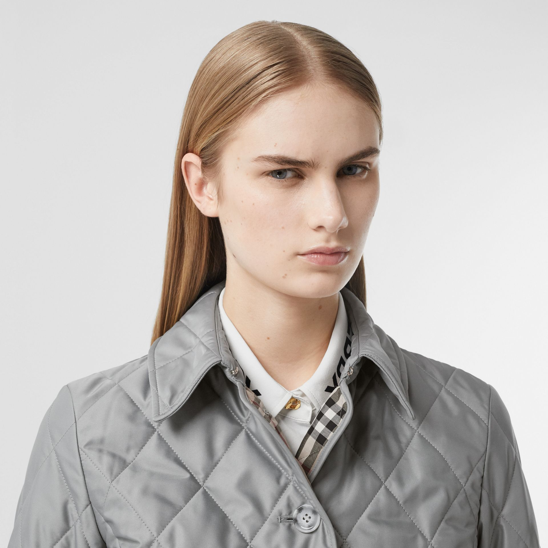 Diamond Quilted Thermoregulated Jacket in Mid Grey - Women | Burberry - gallery image 1