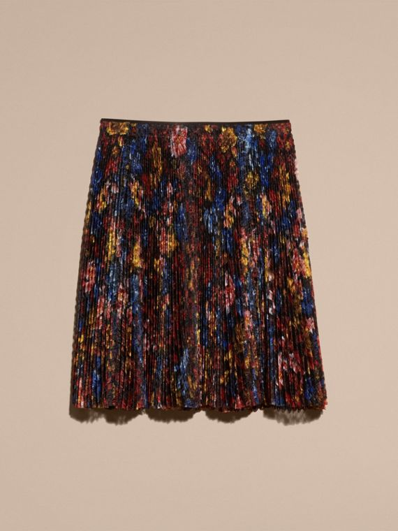 Garden Floral Print Pleated Technical Organza Skirt - cell image 3