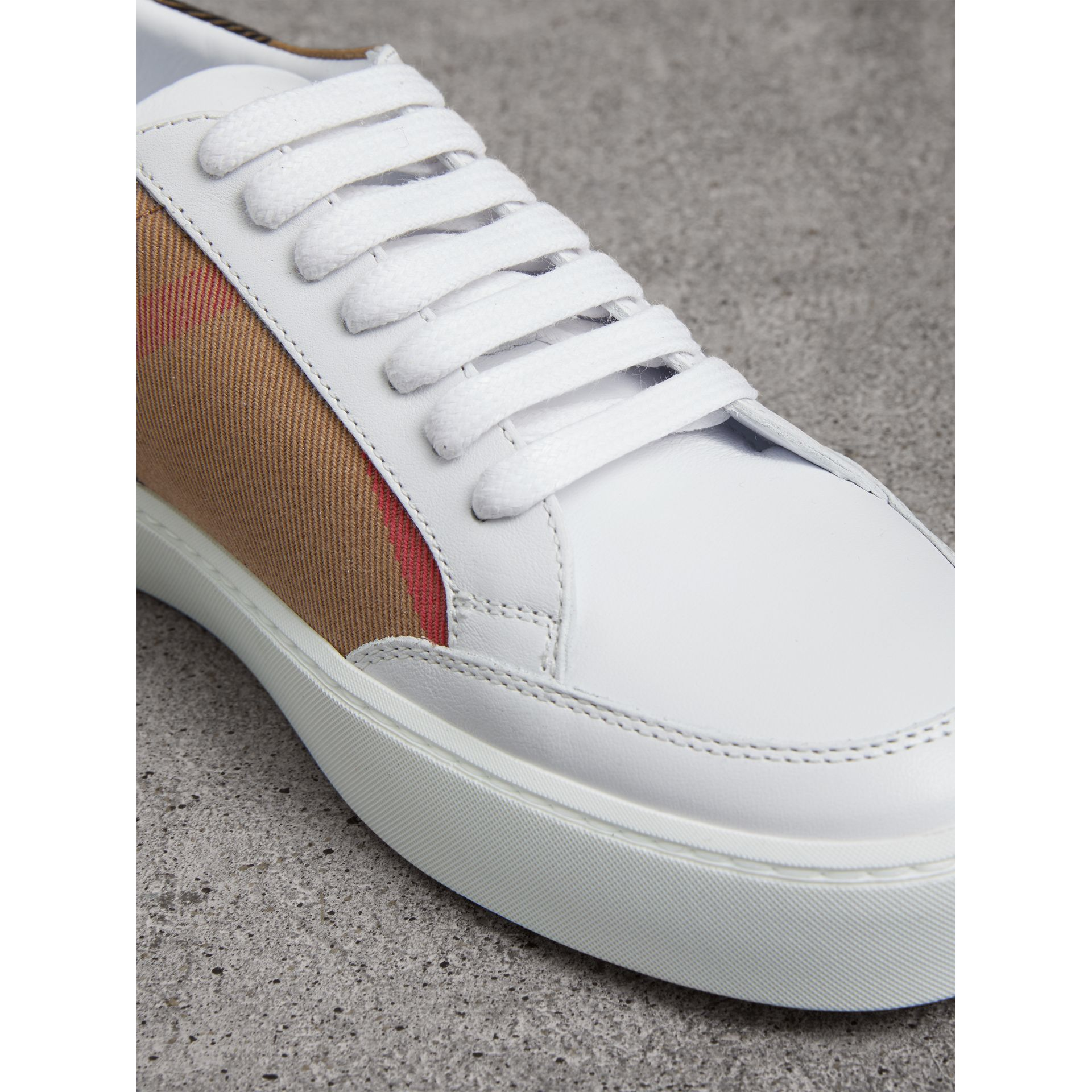 Check Detail Leather Trainers in House Check/ Optic White - Women | Burberry - gallery image 2