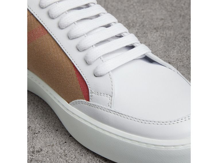 Check Detail Leather Trainers in House Check/ Optic White - Women | Burberry - cell image 1