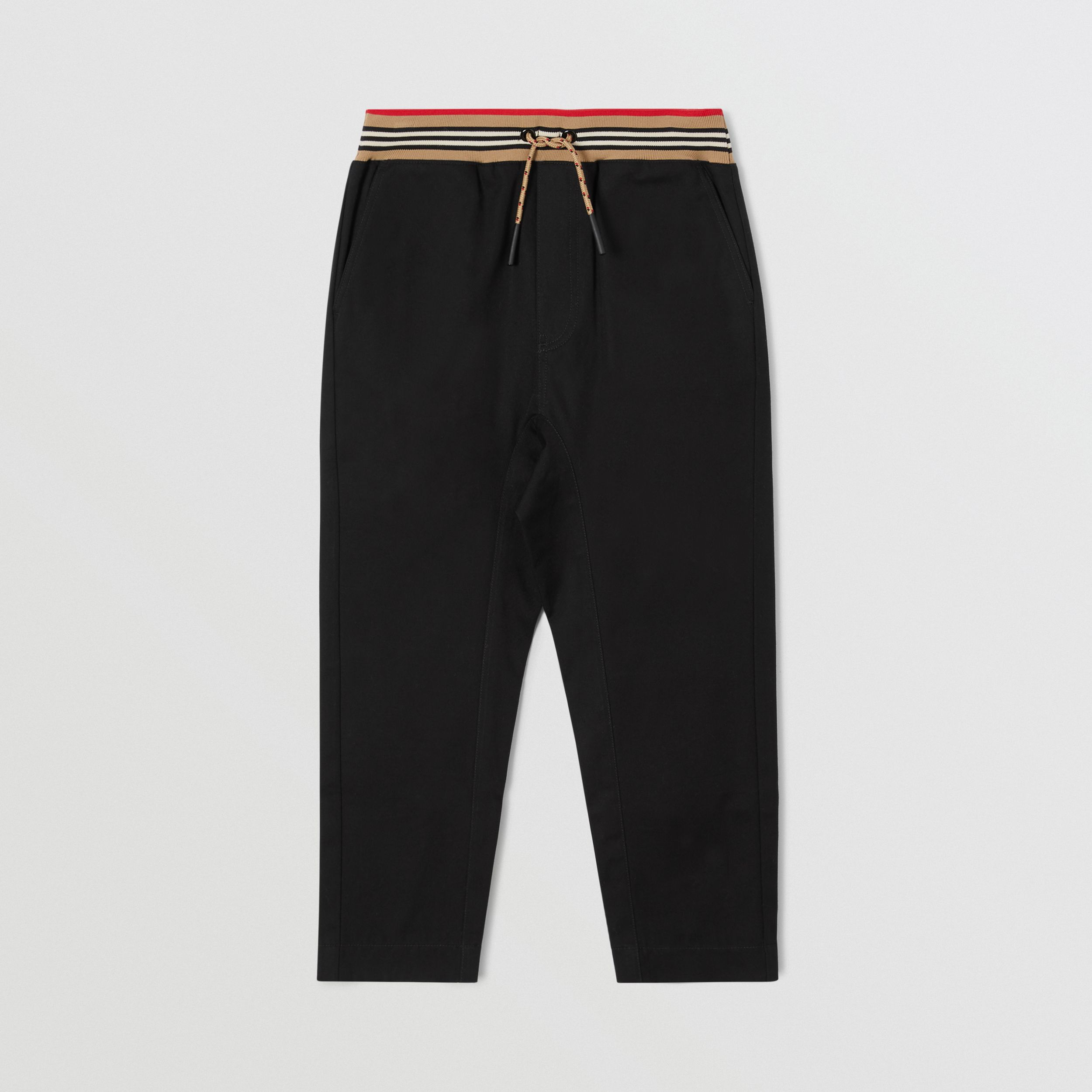 Icon Stripe Detail Cotton Twill Drawcord Trousers | Burberry - 1