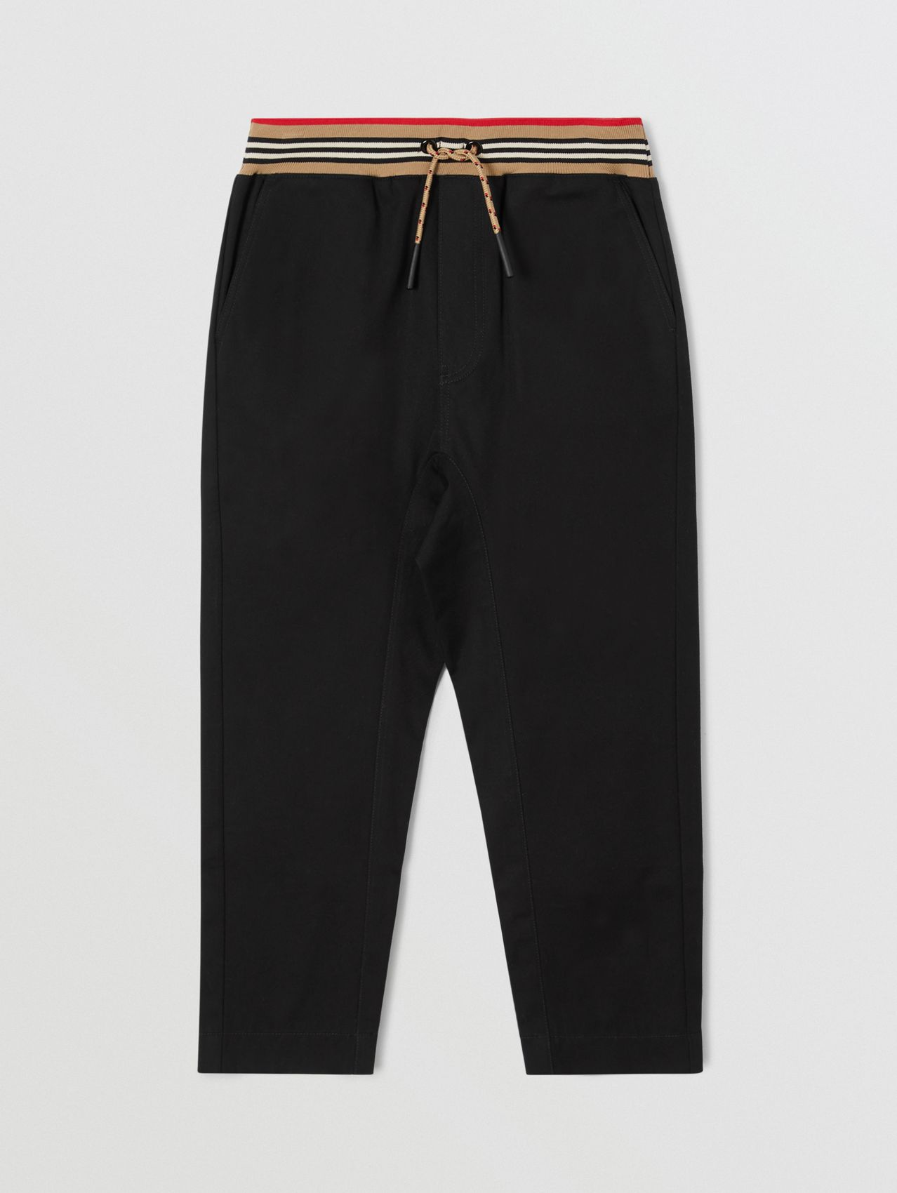 Icon Stripe Detail Cotton Twill Drawcord Trousers