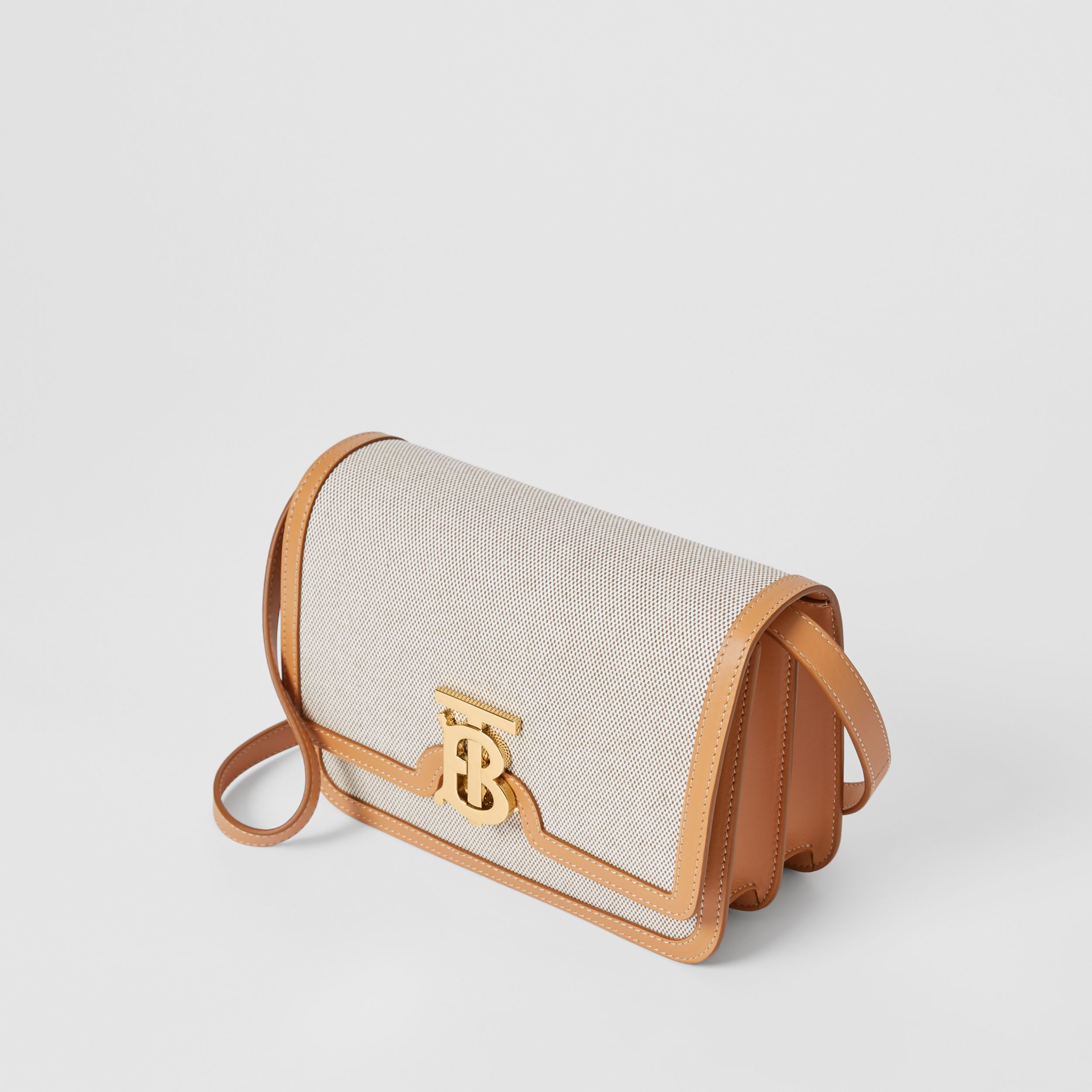 Small Two-tone Canvas and Leather TB Bag in Soft Fawn/warm Sand - Women | Burberry United Kingdom - 4