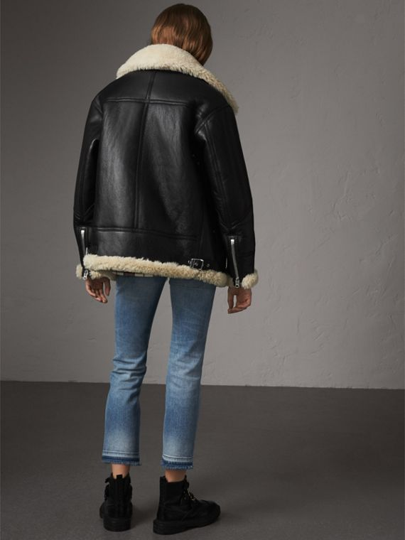 Shearling Aviator Jacket in Black - Women | Burberry - cell image 2