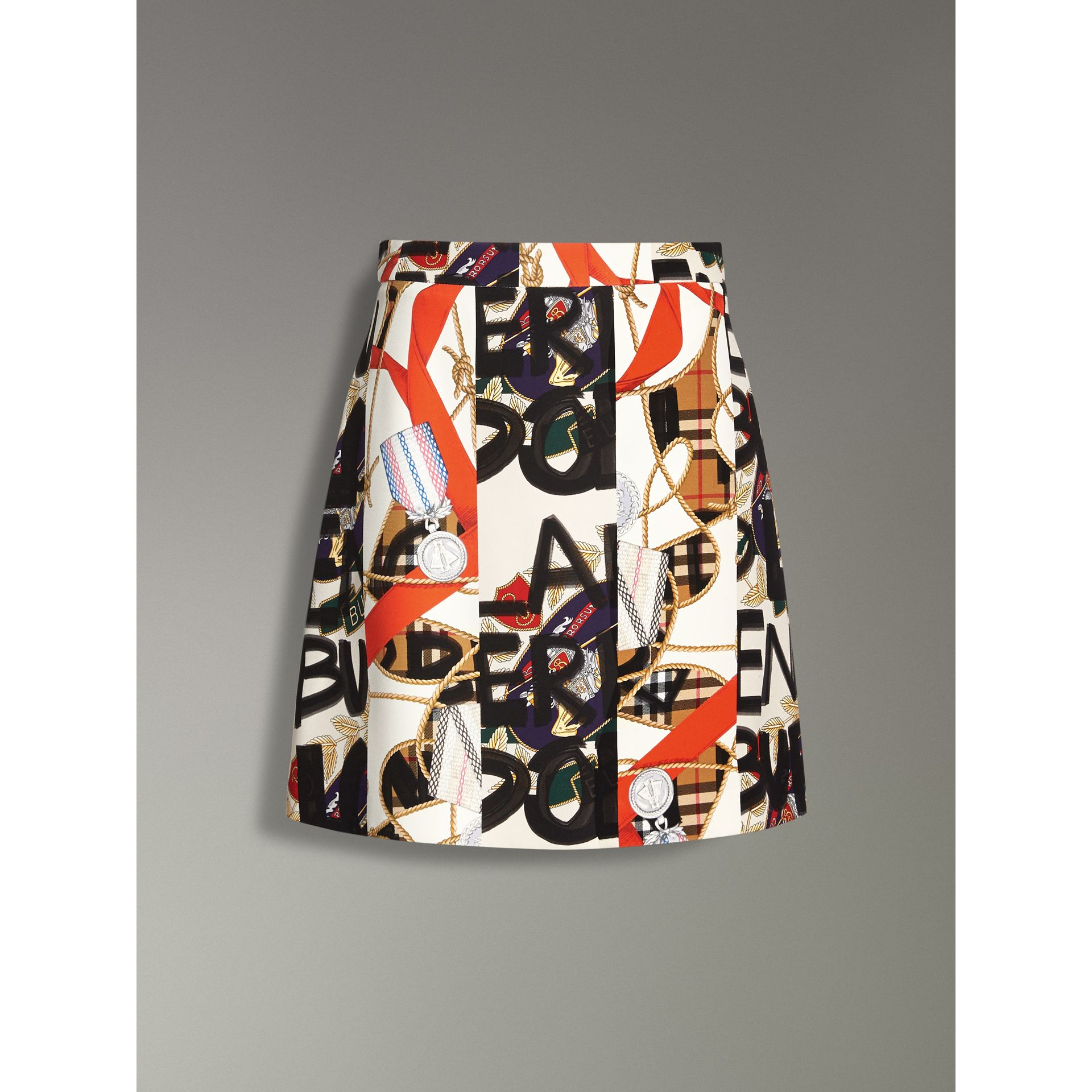 Graffiti Archive Scarf Print Silk Wool Mini Skirt in Stone - Women | Burberry - gallery image 3