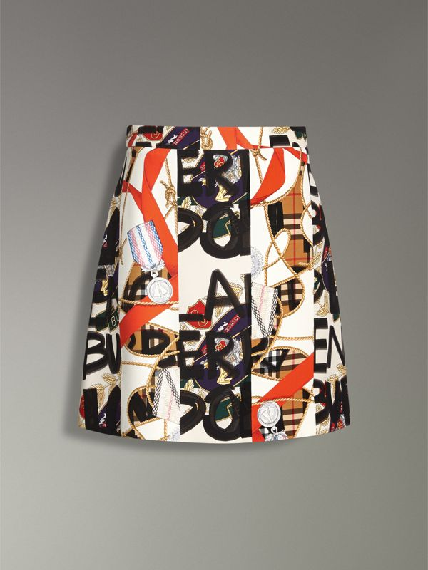 Graffiti Archive Scarf Print Silk Wool Mini Skirt in Stone - Women | Burberry - cell image 3