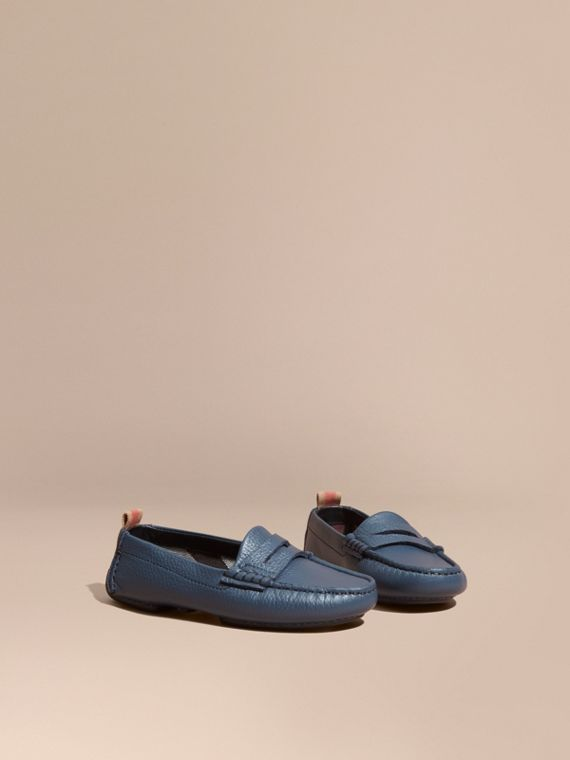 Check Detail Leather Loafers