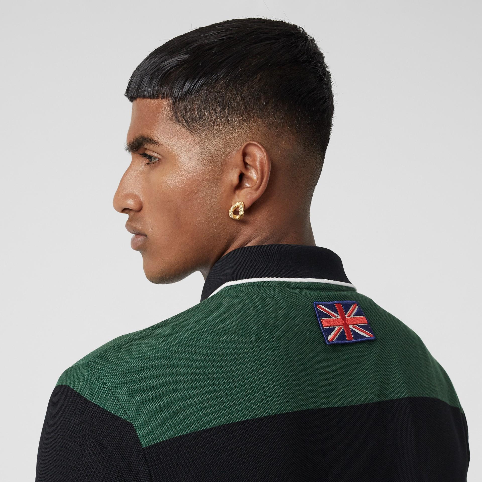 Logo Appliqué Striped Cotton Polo Shirt in Dark Pine Green - Men | Burberry United Kingdom - gallery image 4