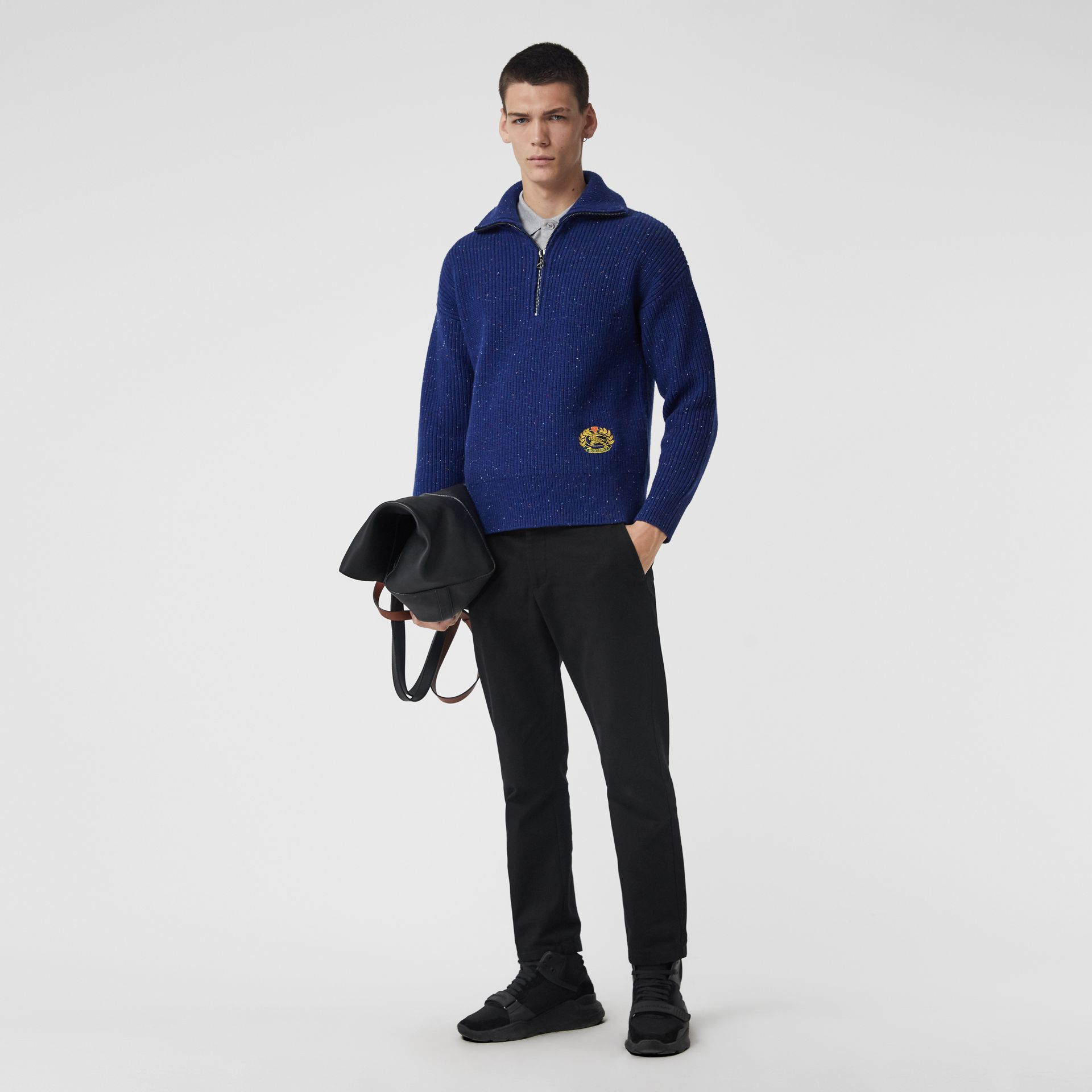 Rib Knit Wool Cashmere Blend Half-zip Sweater in Navy - Men | Burberry - gallery image 0