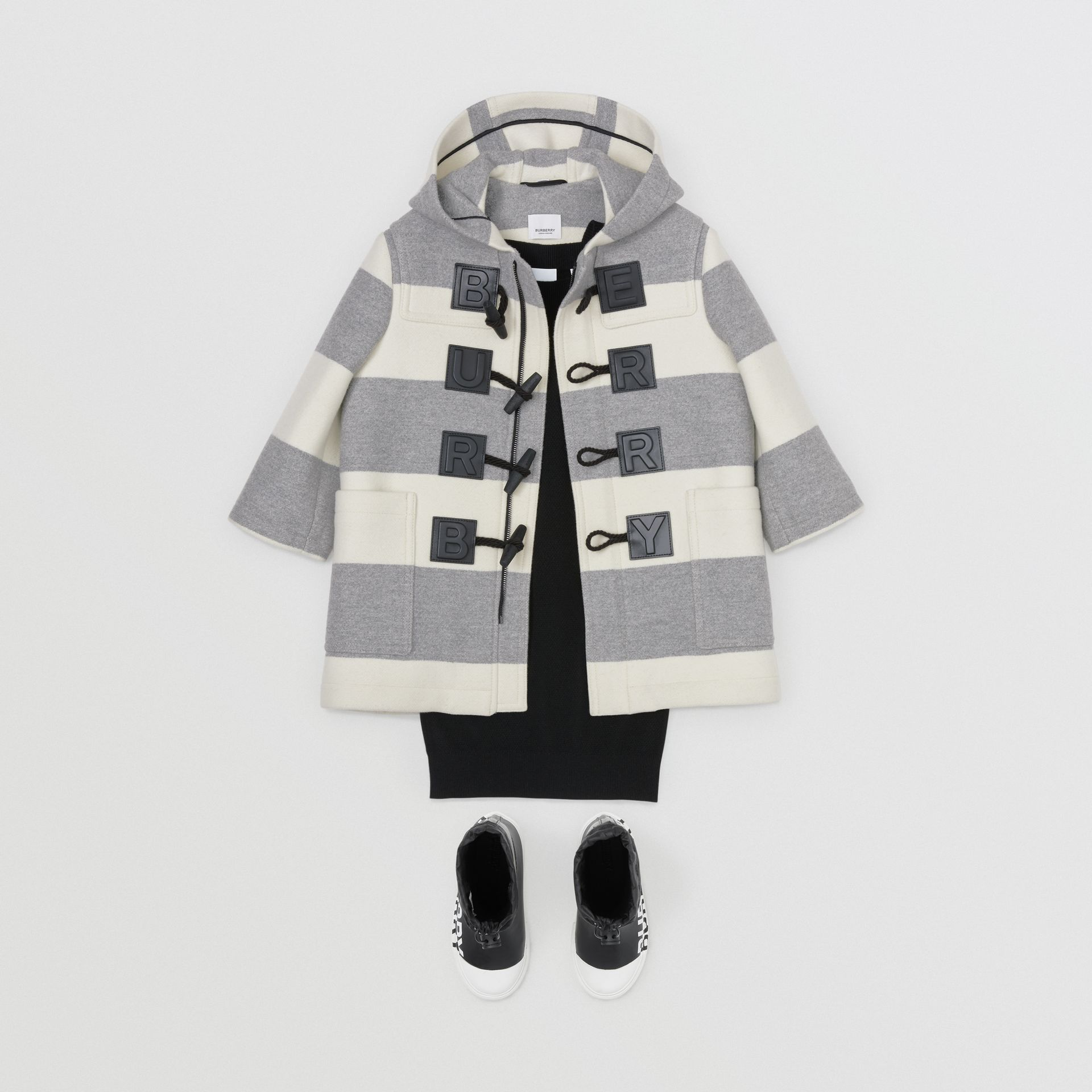 Logo Detail Striped Wool Cashmere Blend Duffle Coat in Grey | Burberry Canada - gallery image 2