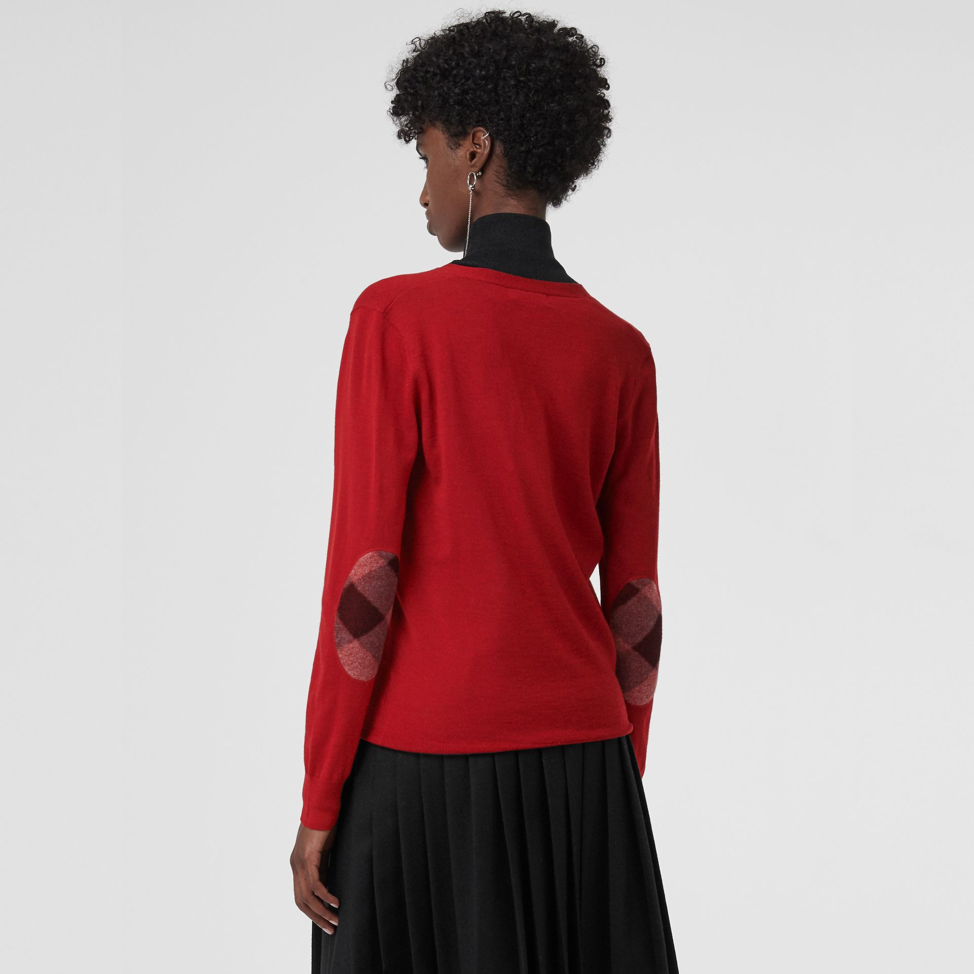 Check Detail Merino Wool Cardigan in Parade Red - Women | Burberry United States - gallery image 2