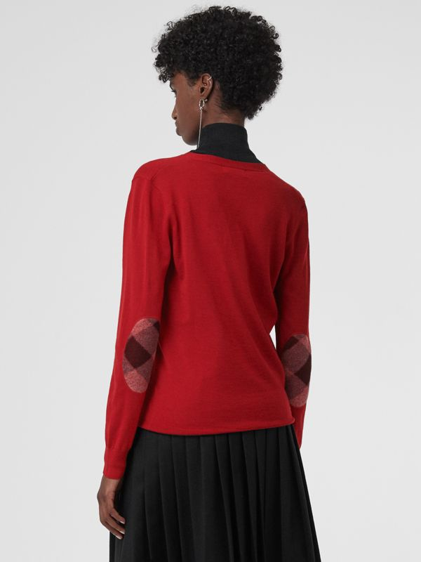 Check Detail Merino Wool Cardigan in Parade Red - Women | Burberry United States - cell image 2