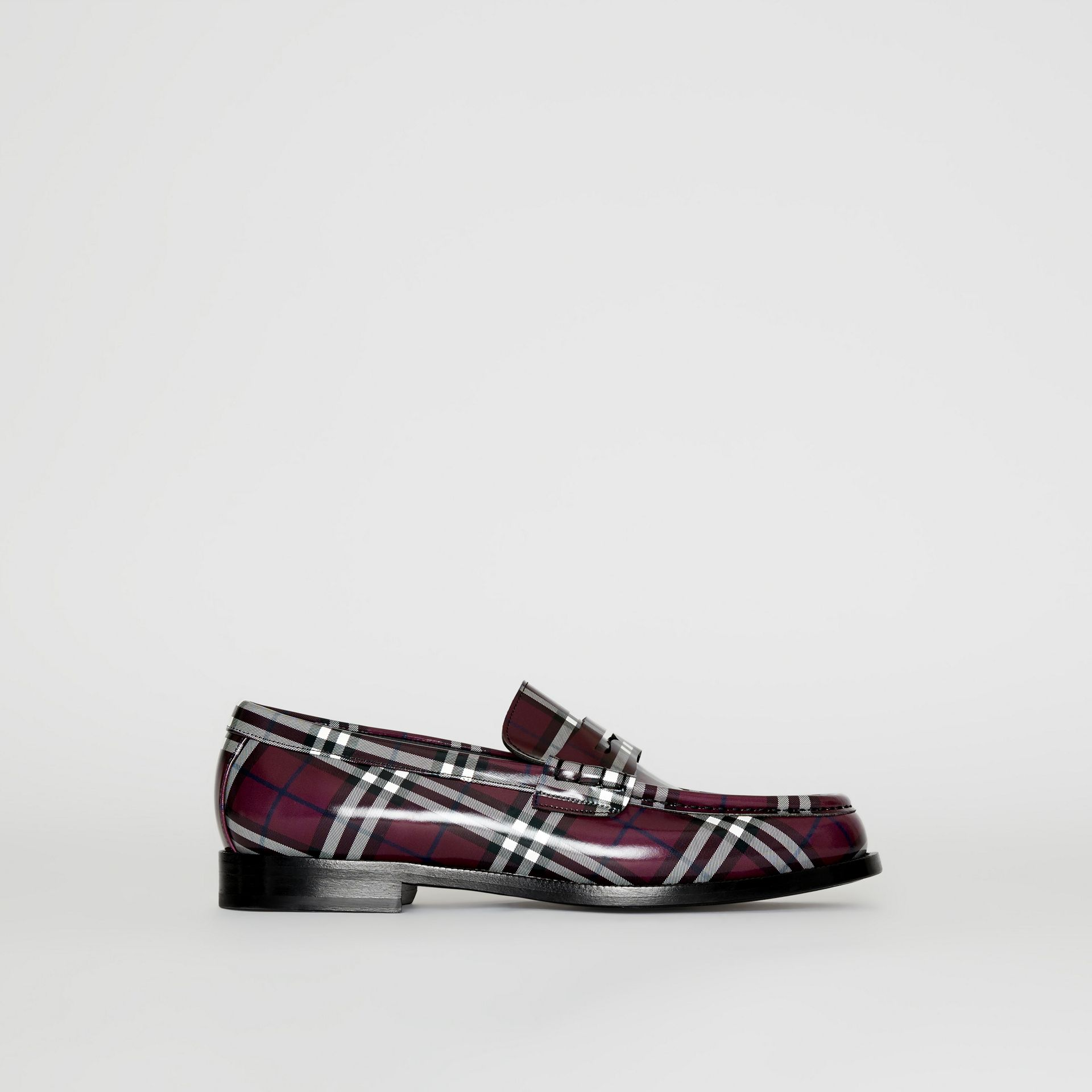 Gosha x Burberry Check Leather Loafers in Claret - Men | Burberry - gallery image 2