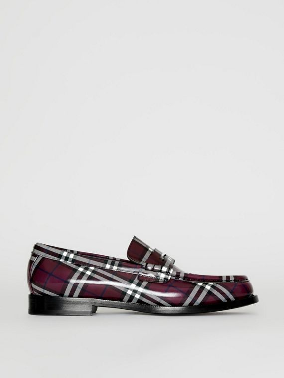 d6c5e7d99 Gosha x Burberry Check Leather Loafers in Claret