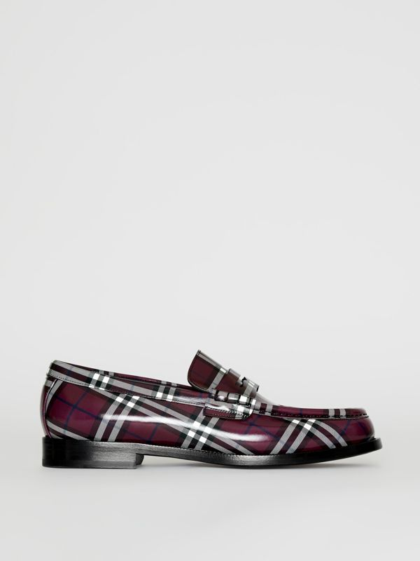 Gosha x Burberry Check Leather Loafers in Claret - Men | Burberry - cell image 2