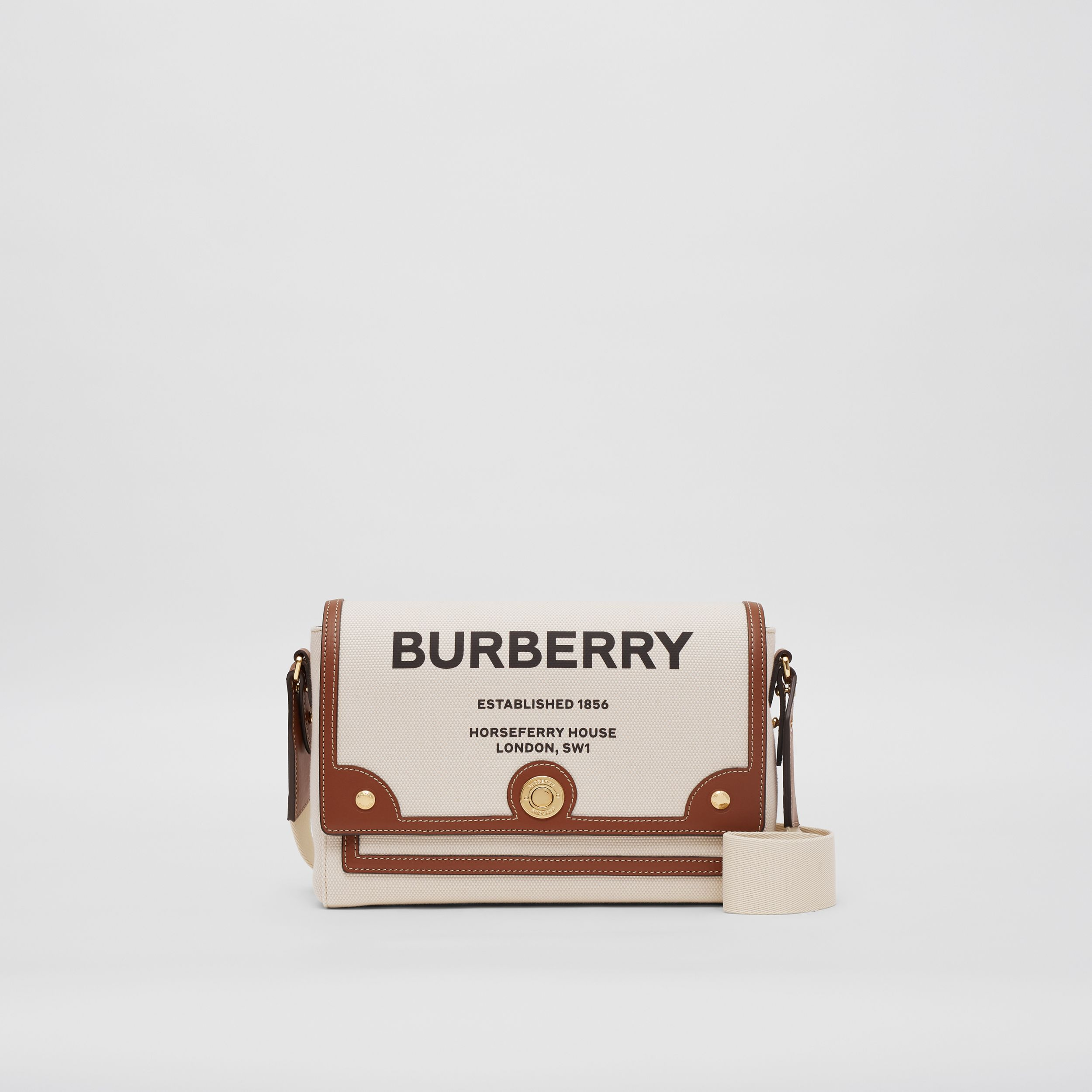 Horseferry Print Canvas Note Crossbody Bag in Natural/tan - Women | Burberry - 1
