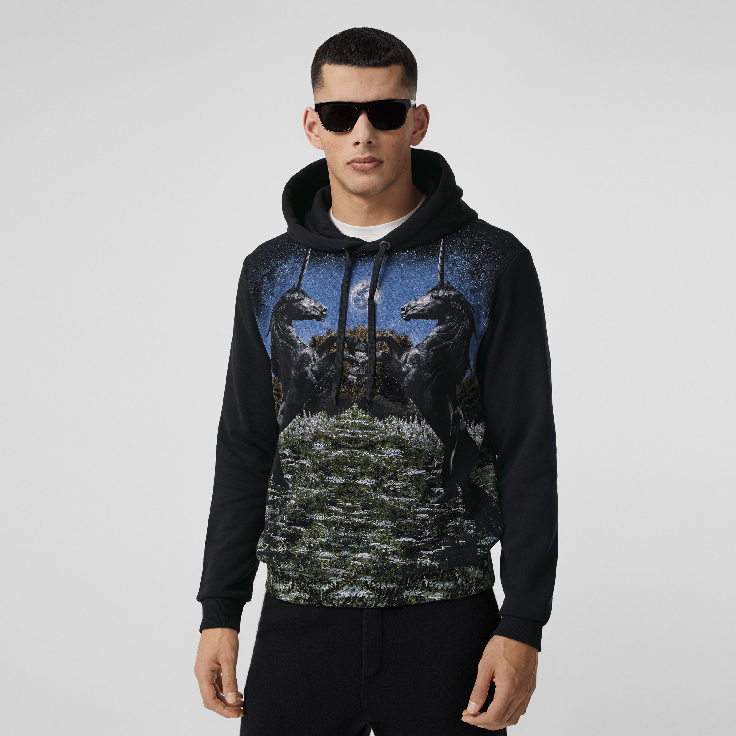 Meadow Print Cotton Hoodie in Black - Men | Burberry - 1
