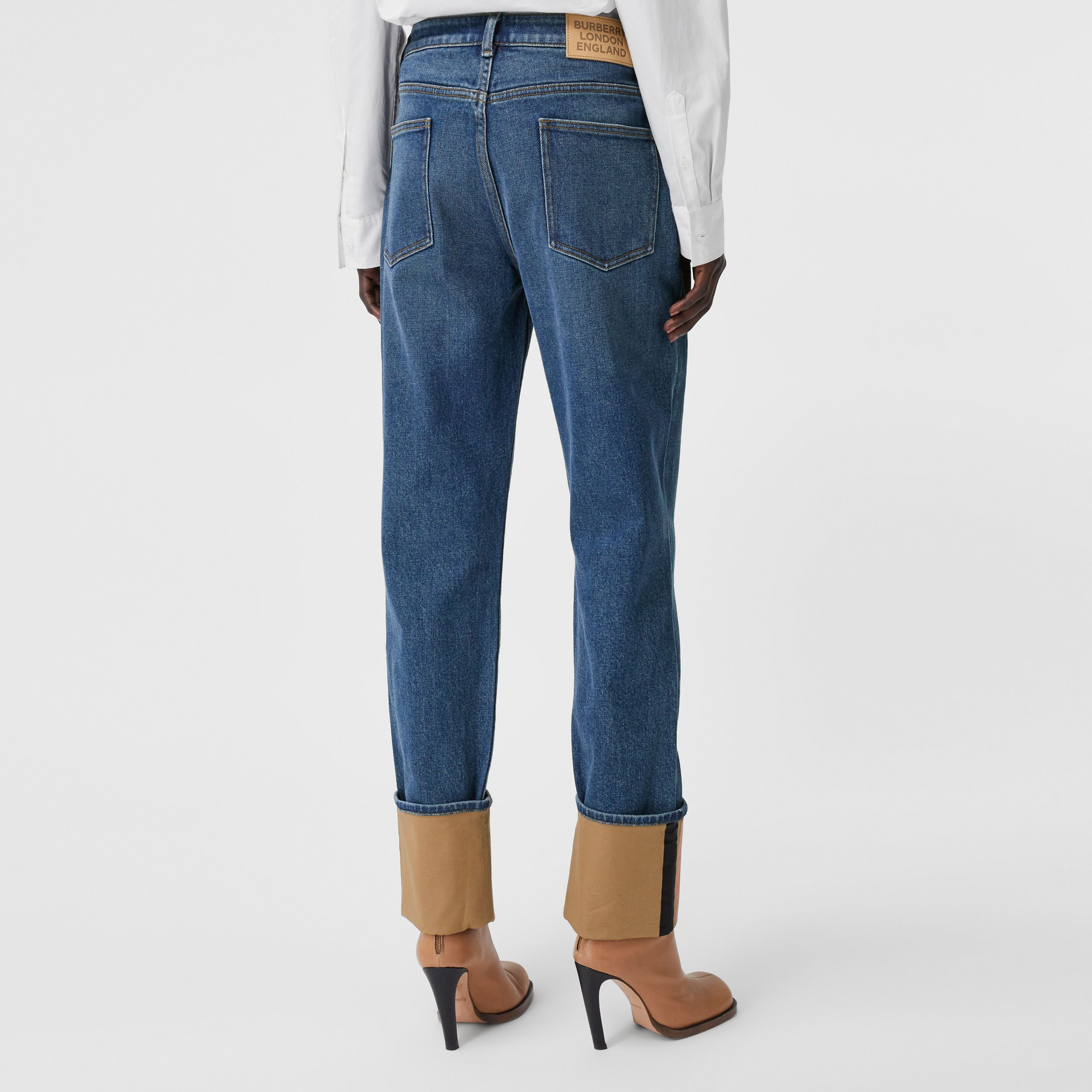 Straight Fit Striped Cuff Washed Jeans in Mid Indigo Blue - Women | Burberry - 3
