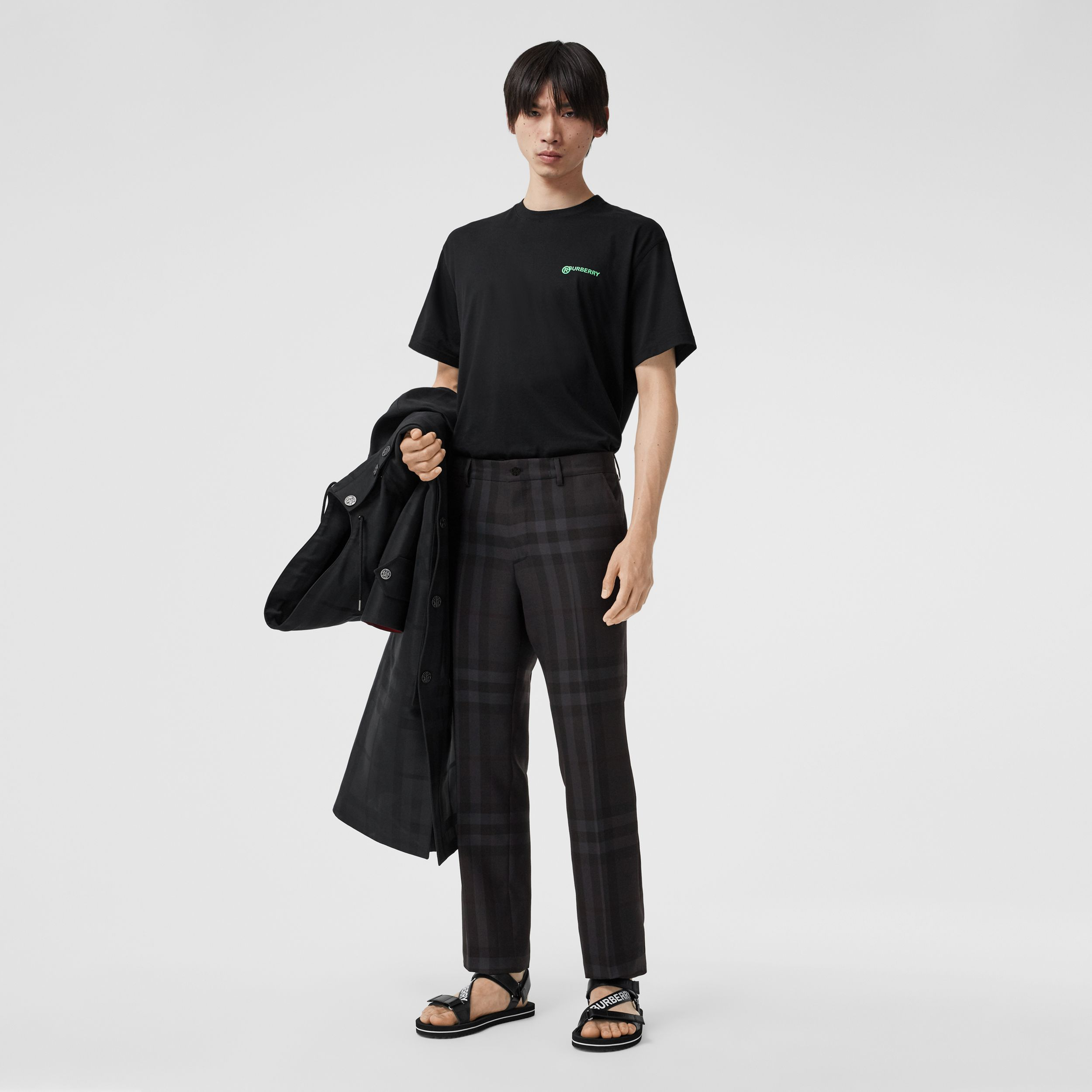 Classic Fit Check Wool Tailored Trousers in Charcoal - Men | Burberry Australia - 1