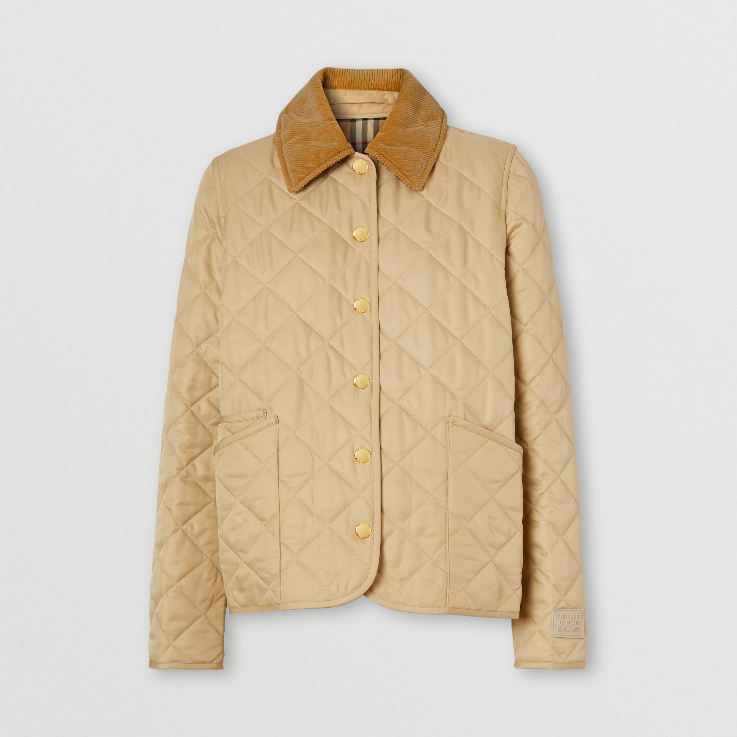 Corduroy Collar Diamond Quilted Jacket in Soft Fawn - Women | Burberry - 4