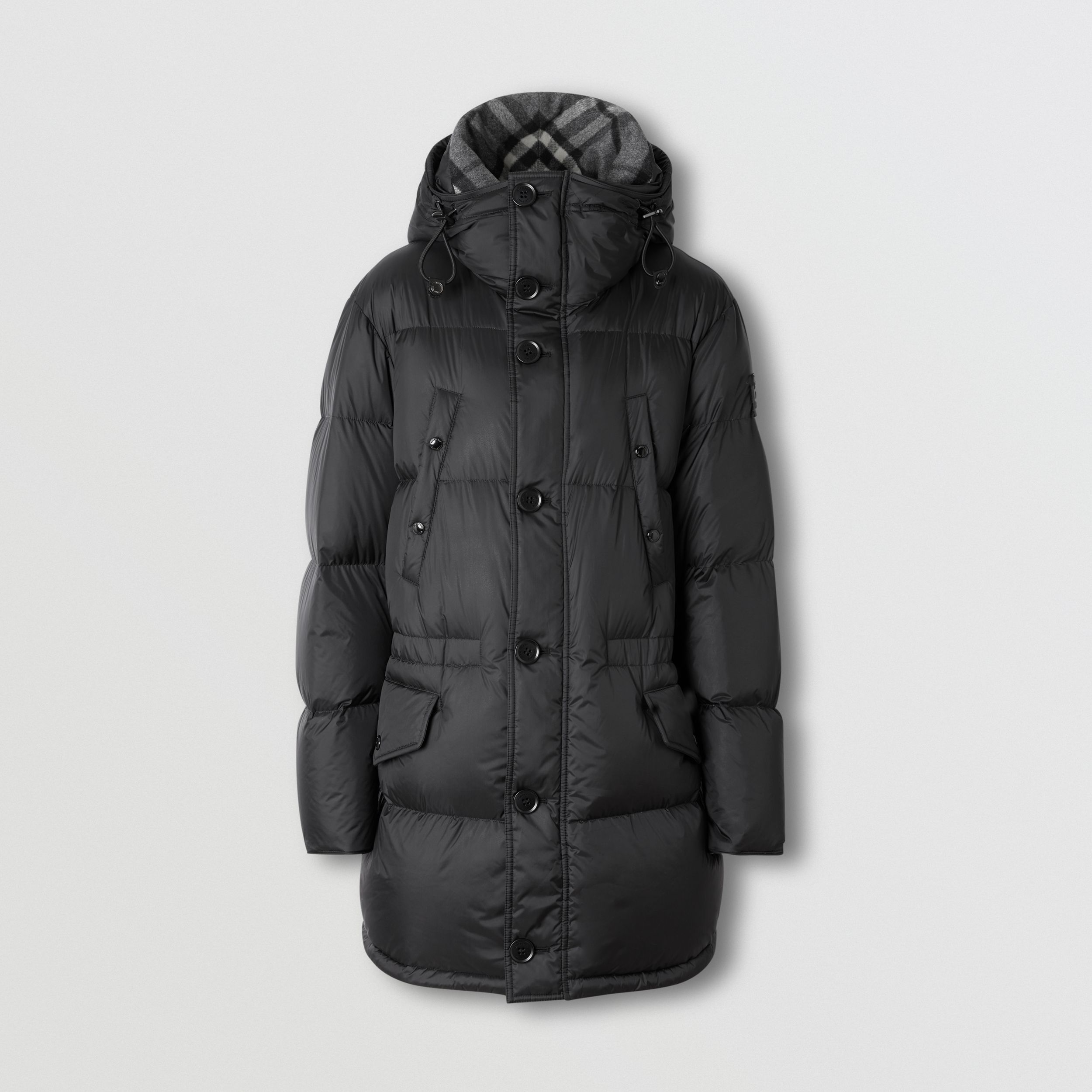 Logo Detail Hooded Puffer Coat in Black - Men | Burberry Canada - 4