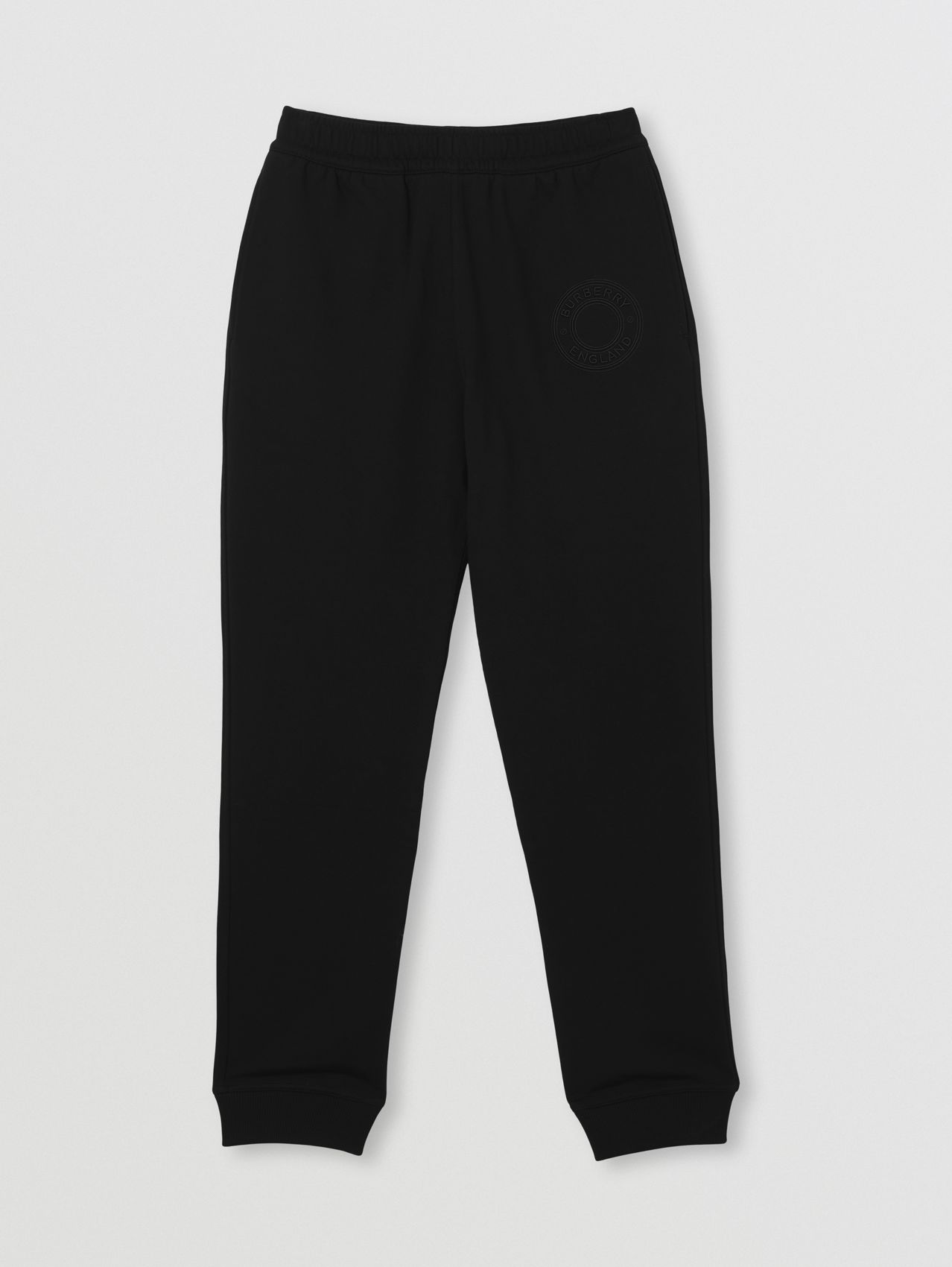 Embroidered Logo Graphic Cotton Jogging Pants in Black