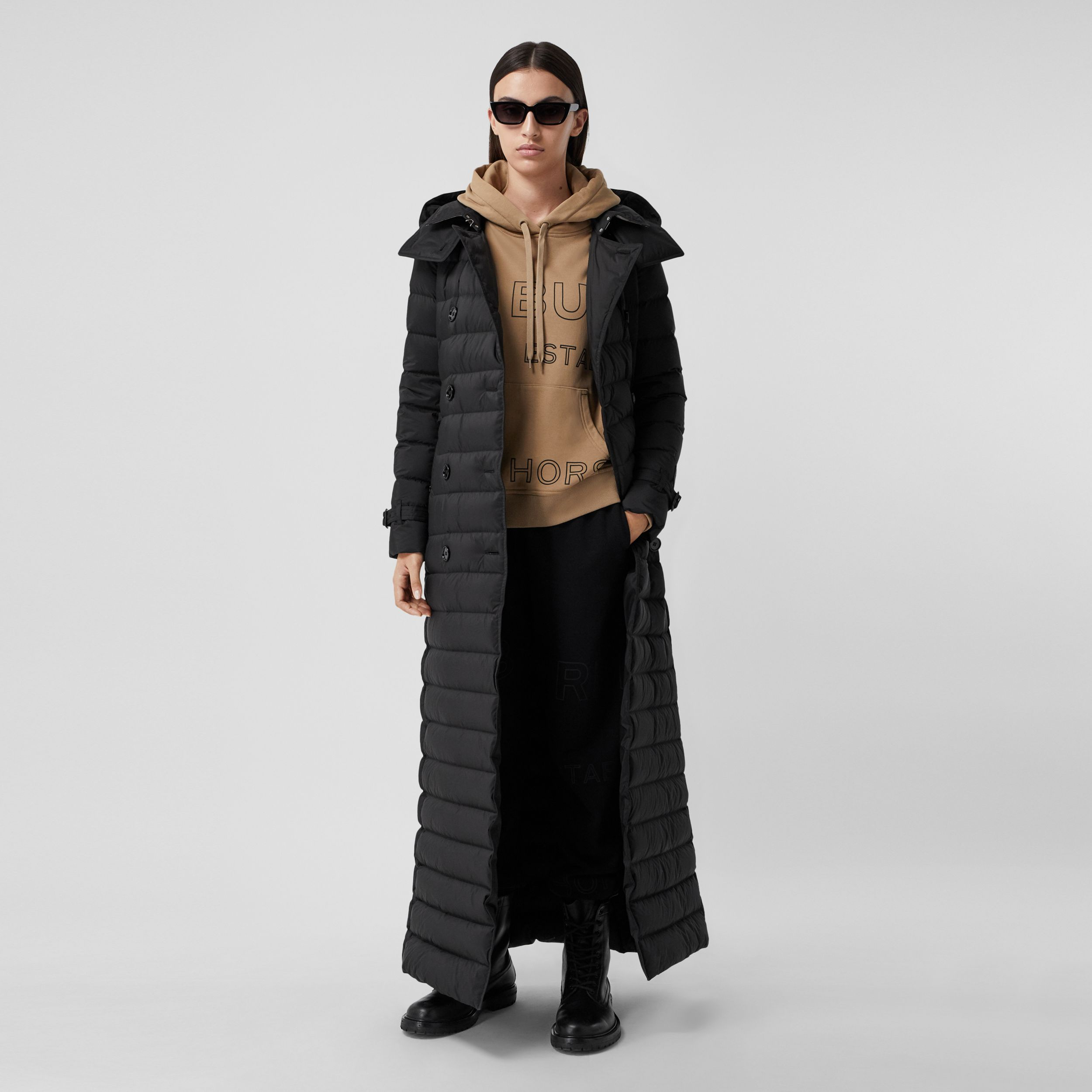 Logo Appliqué Detachable Hood Puffer Coat in Black - Women | Burberry - 1