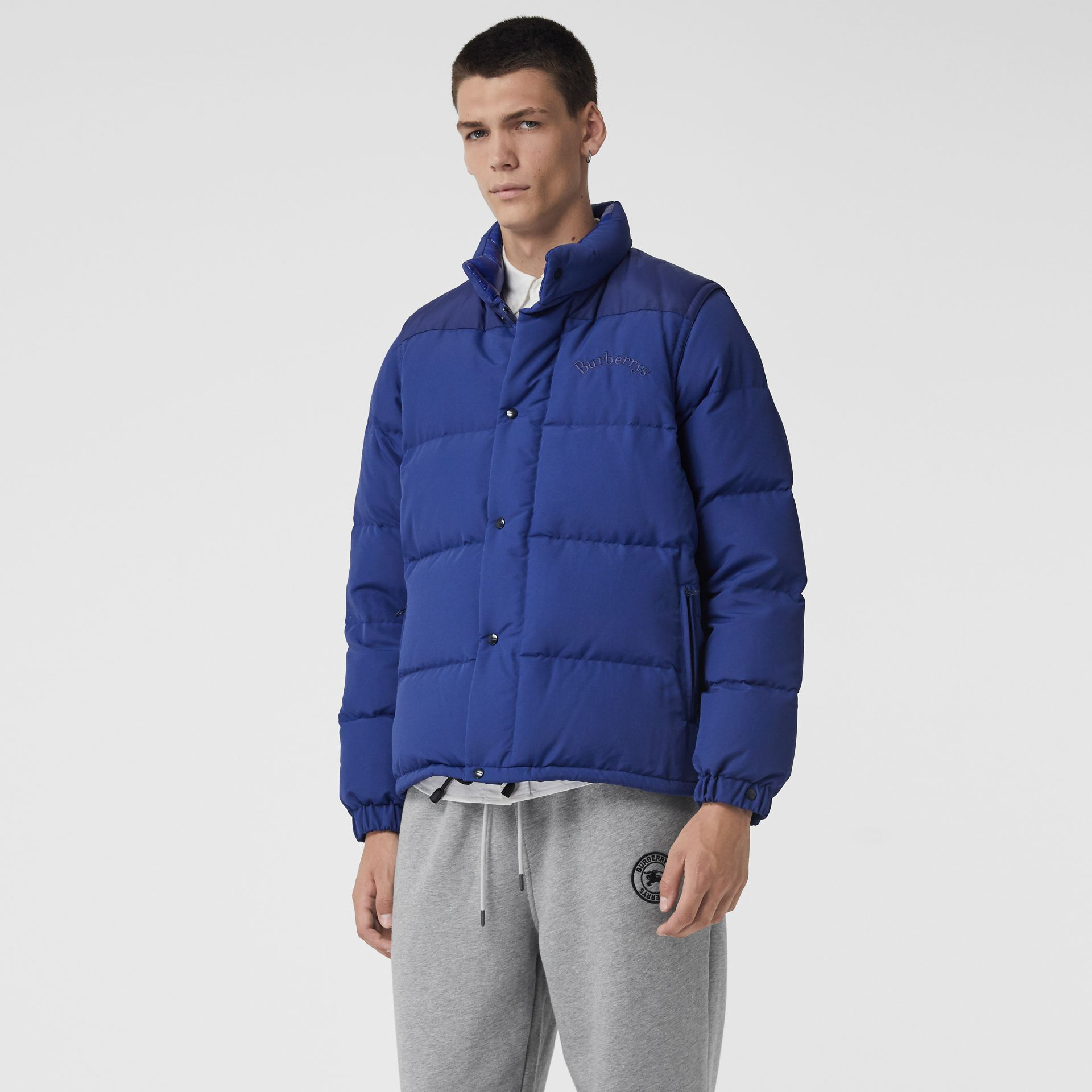 Detachable-sleeve Down-filled Puffer Jacket in Bright Blue - Men | Burberry Singapore - gallery image 5