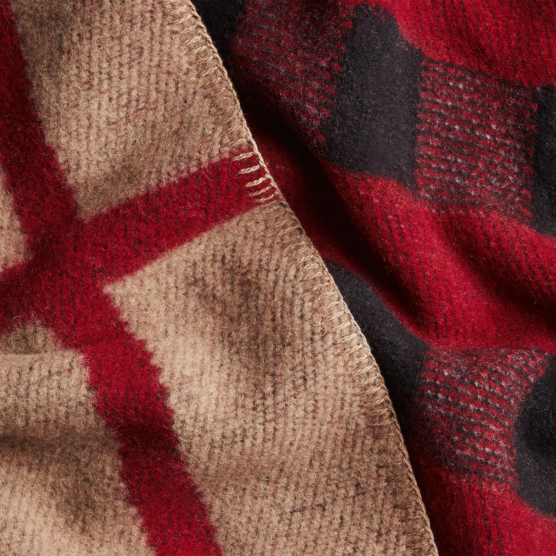 House check/black Check Wool Cashmere Blanket Poncho - gallery image 2