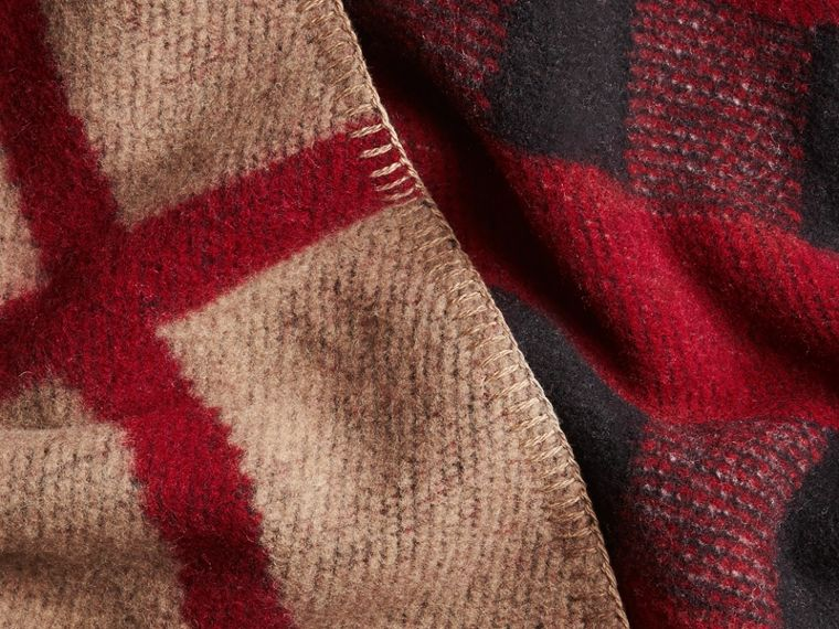 House check/black Check Wool Cashmere Blanket Poncho - cell image 1