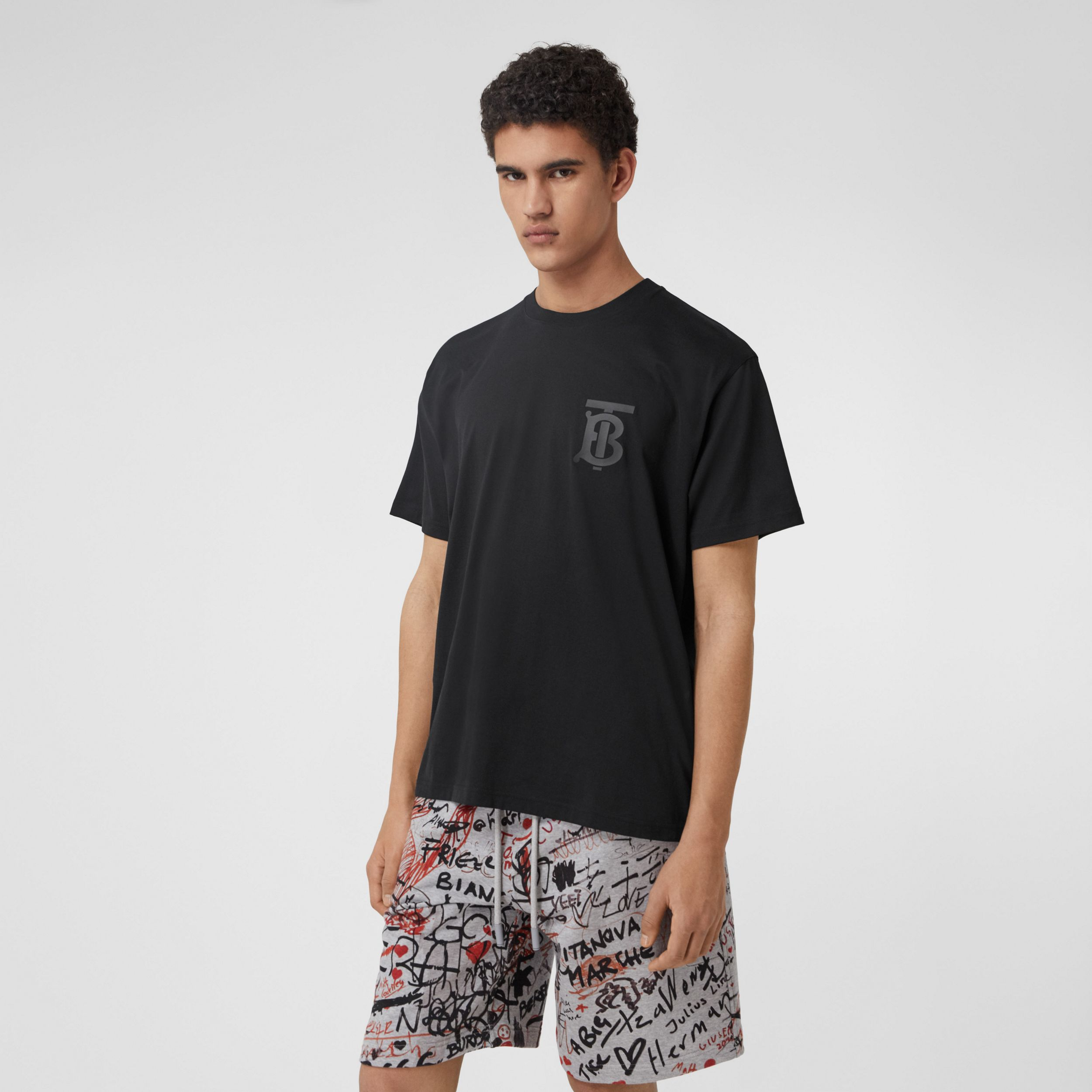 Monogram Motif Cotton Oversized T-shirt in Black | Burberry - 1
