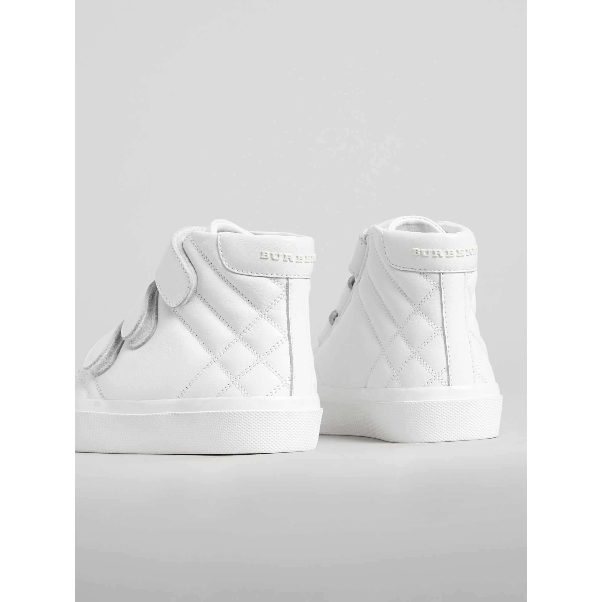 Check-quilted Leather High-top Sneakers in Optic White - Children | Burberry - gallery image 2