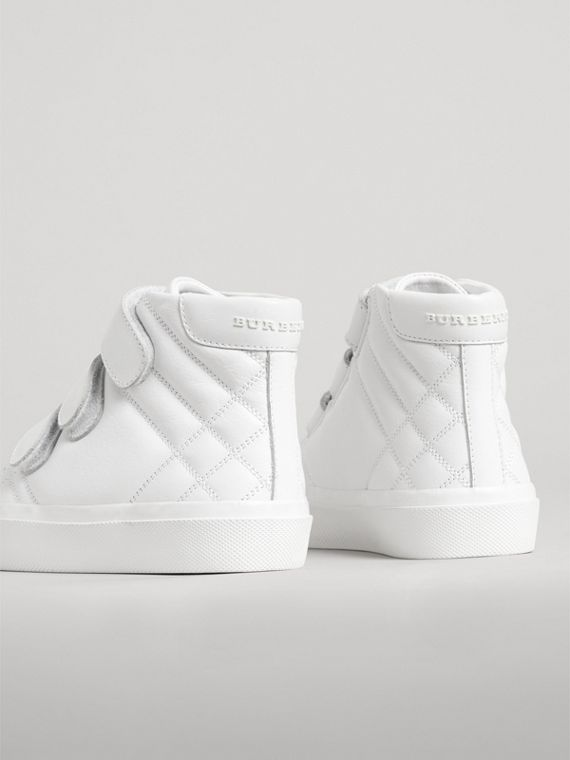 Check-quilted Leather High-top Sneakers in Optic White | Burberry - cell image 2