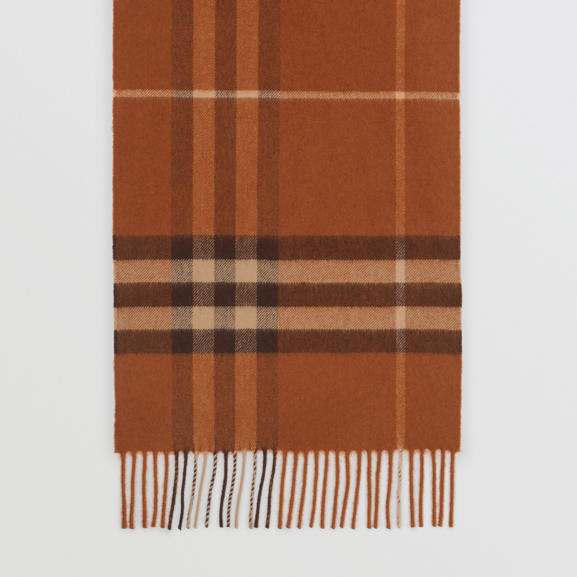 The Classic Check Cashmere Scarf in Chestnut | Burberry Australia - gallery image 4