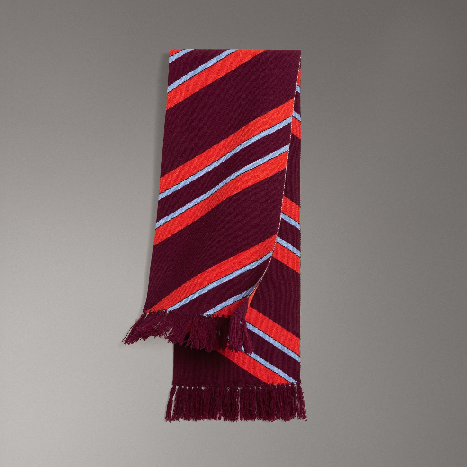 Tri-tone Striped Wool Cashmere Scarf in Burgundy | Burberry Canada - gallery image 0