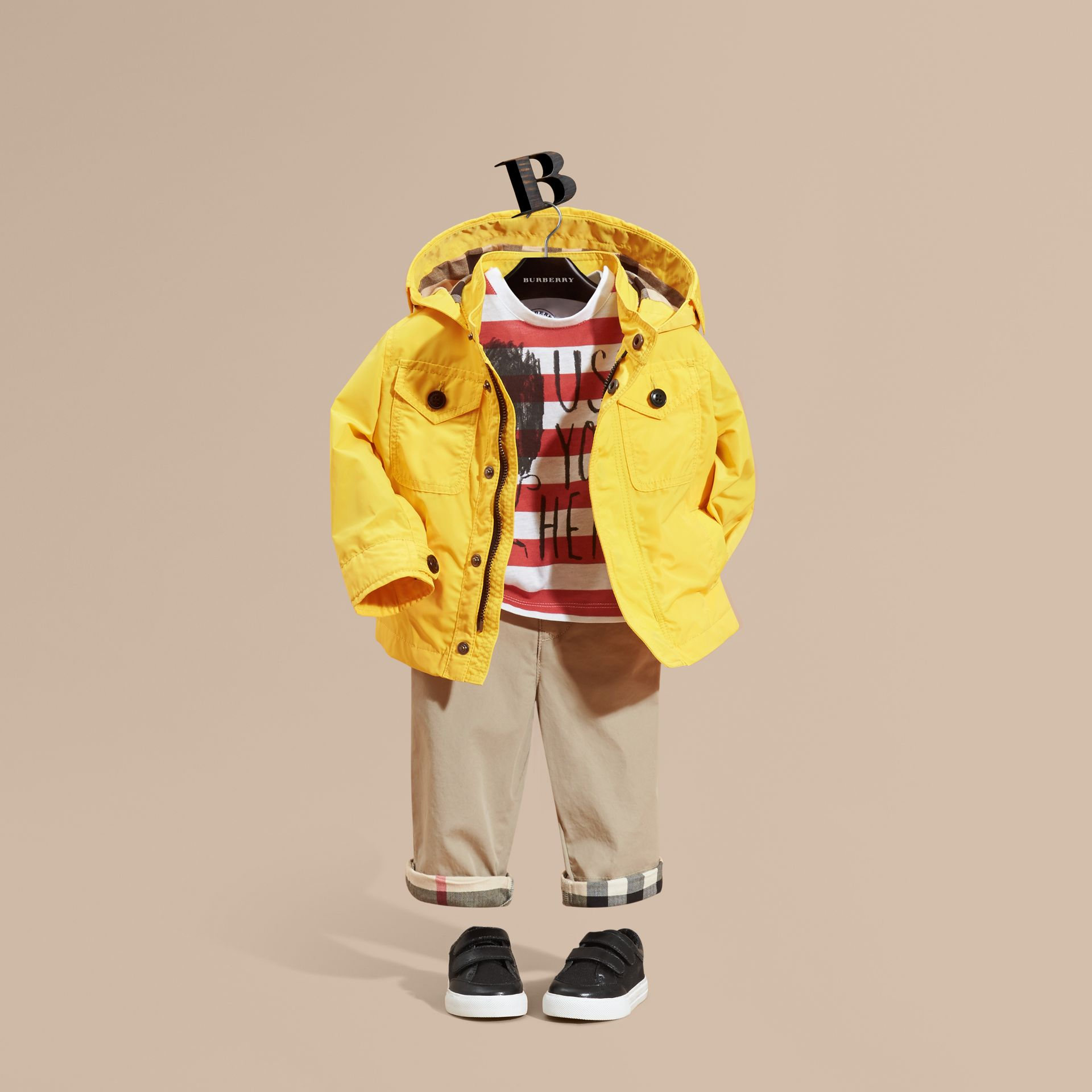Bright yellow Hooded Technical Jacket Bright Yellow - gallery image 1