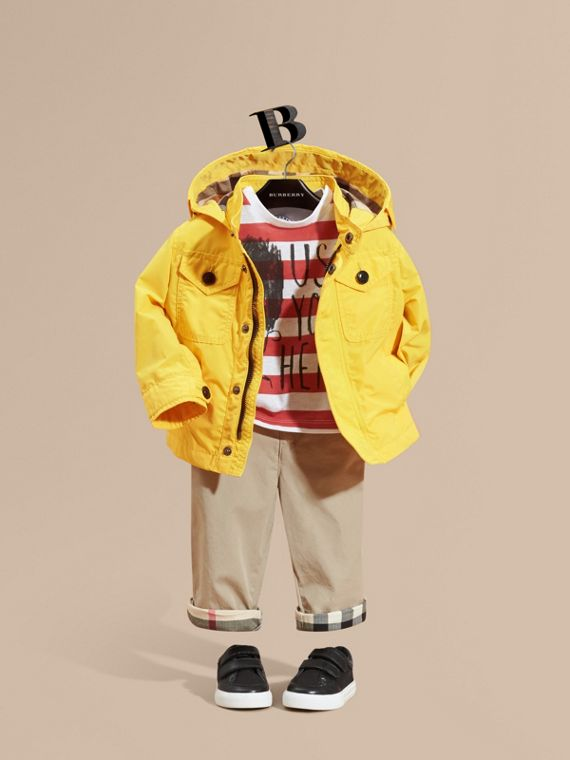 Hooded Technical Jacket Bright Yellow