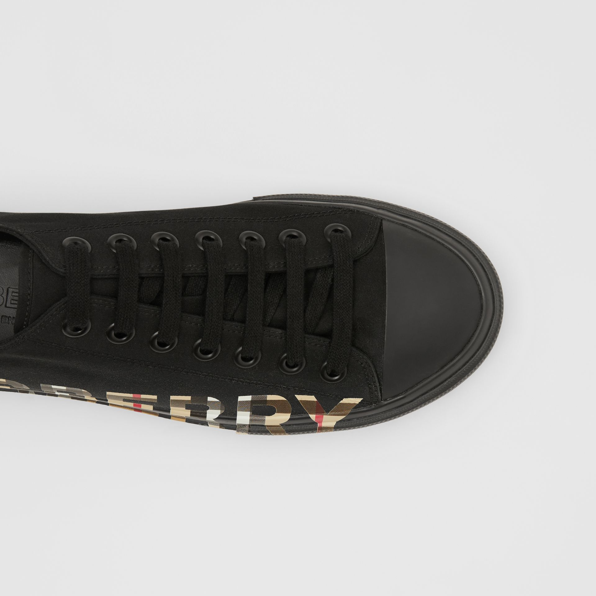 Vintage Check Logo Print Cotton Gabardine Sneakers in Black/archive Beige - Men | Burberry Singapore - gallery image 1