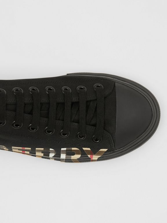 Vintage Check Logo Print Cotton Gabardine Sneakers in Black/archive Beige - Men | Burberry - cell image 1