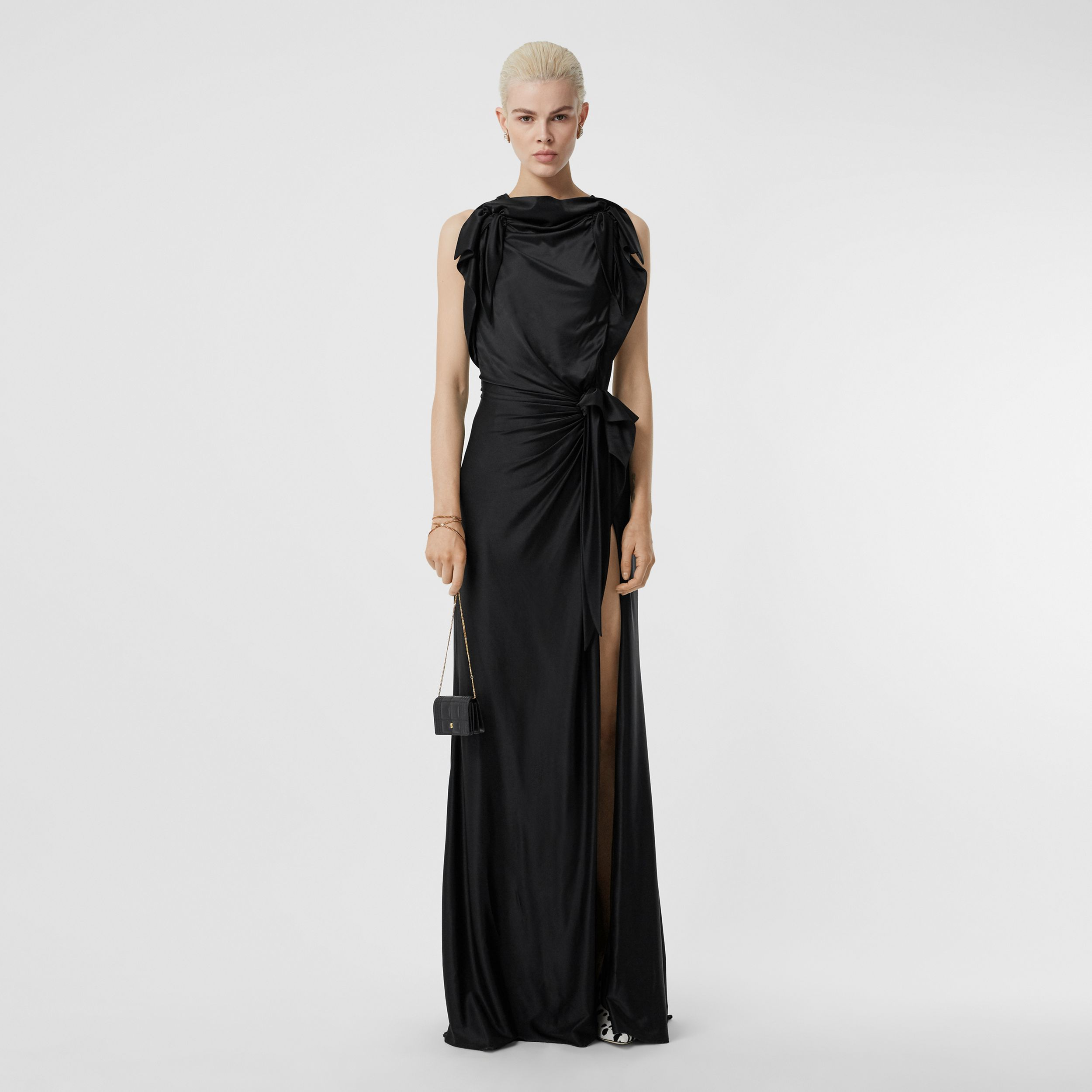 Tie Detail Stretch Jersey Gown in Black - Women | Burberry - 1