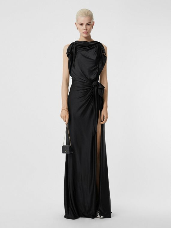 Tie Detail Stretch Jersey Gown in Black