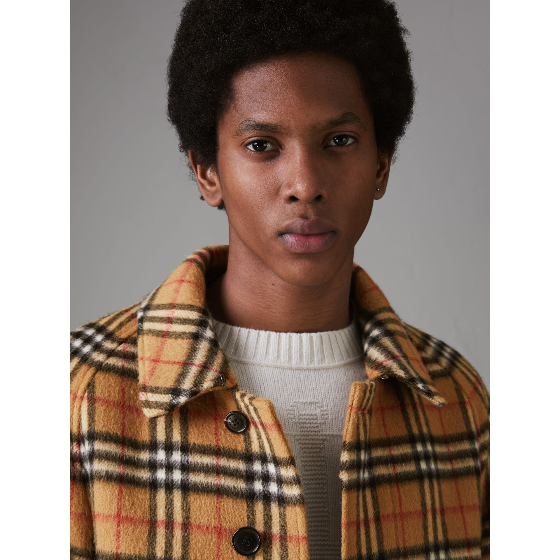 Vintage Check Alpaca Wool Car Coat in Antique Yellow - Men | Burberry - gallery image 4